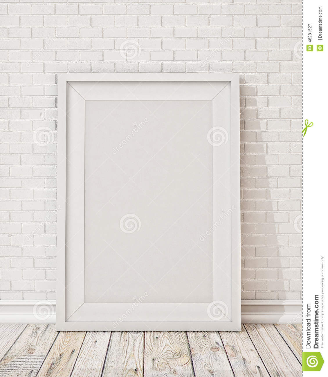 Blank White Picture Frame On The Wall And The Floor Stock