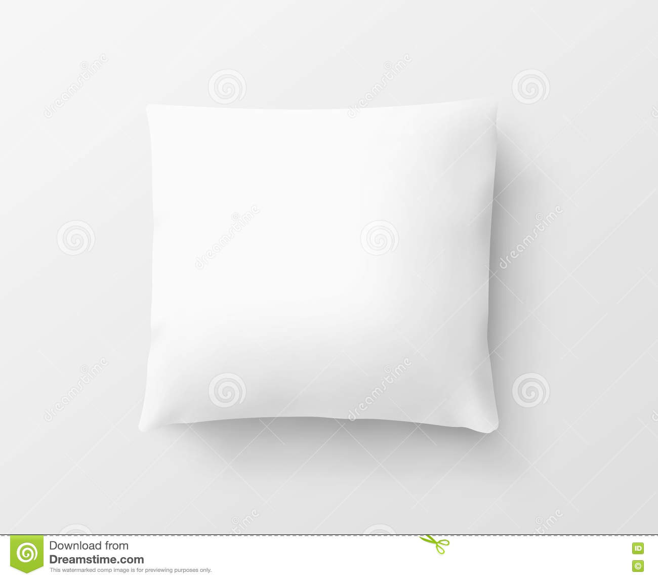 Blank white pillow case design mockup, , clipping path, 3d illustration
