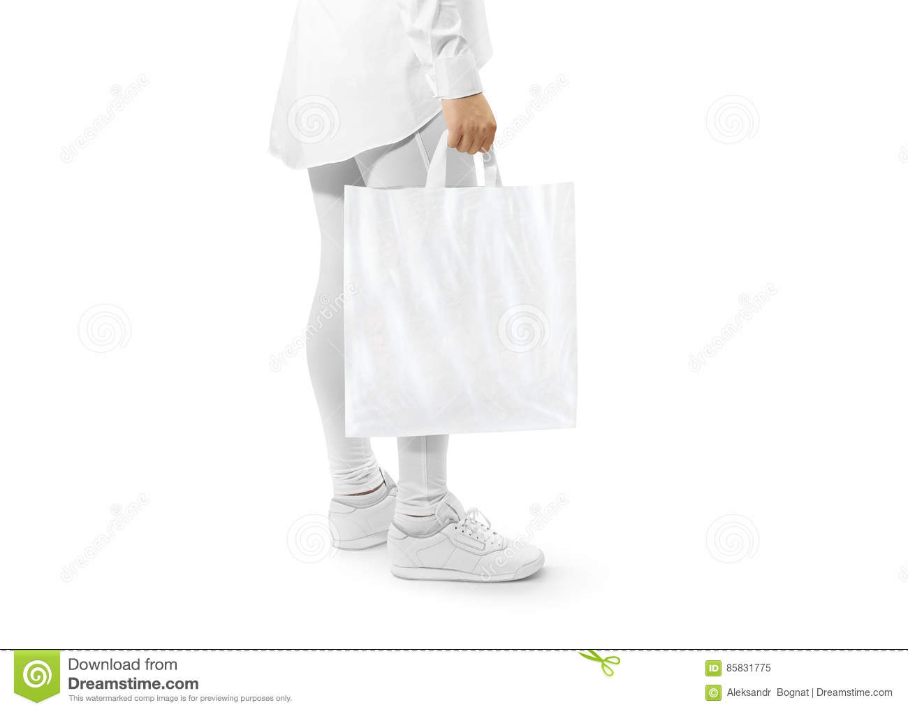 375b491f Blank white plastic bag mockup holding hand. Woman hold carrier sac mock up  with loop handles. Plain bagful branding template. Shopping carry package  in ...