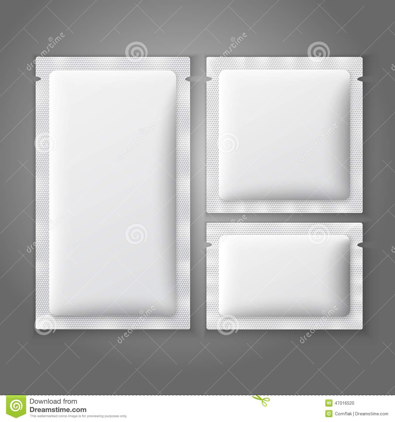 Blank White Plastic Sachets For Coffee Sugar Stock