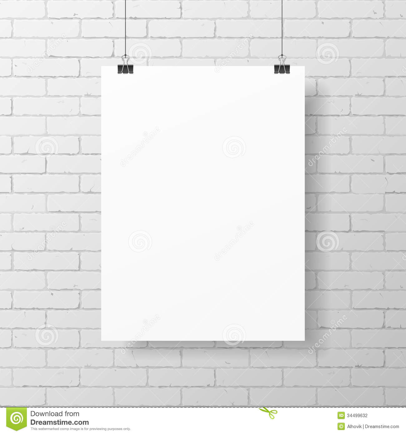 blank white poster on brick wall stock vector illustration of aged