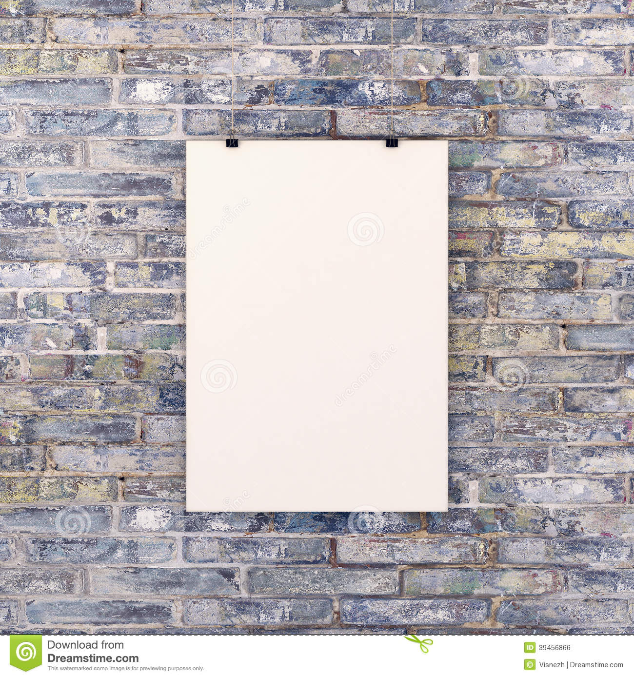Blank White Poster On Brick Wall Stock Photo Image Of