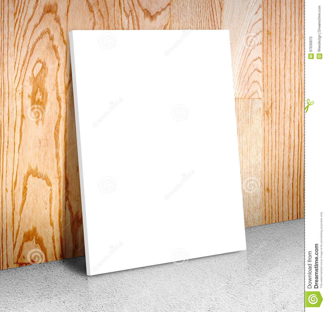 Blank White Poster Frame At Concrete Floor And Wooden Wall, Canv ...