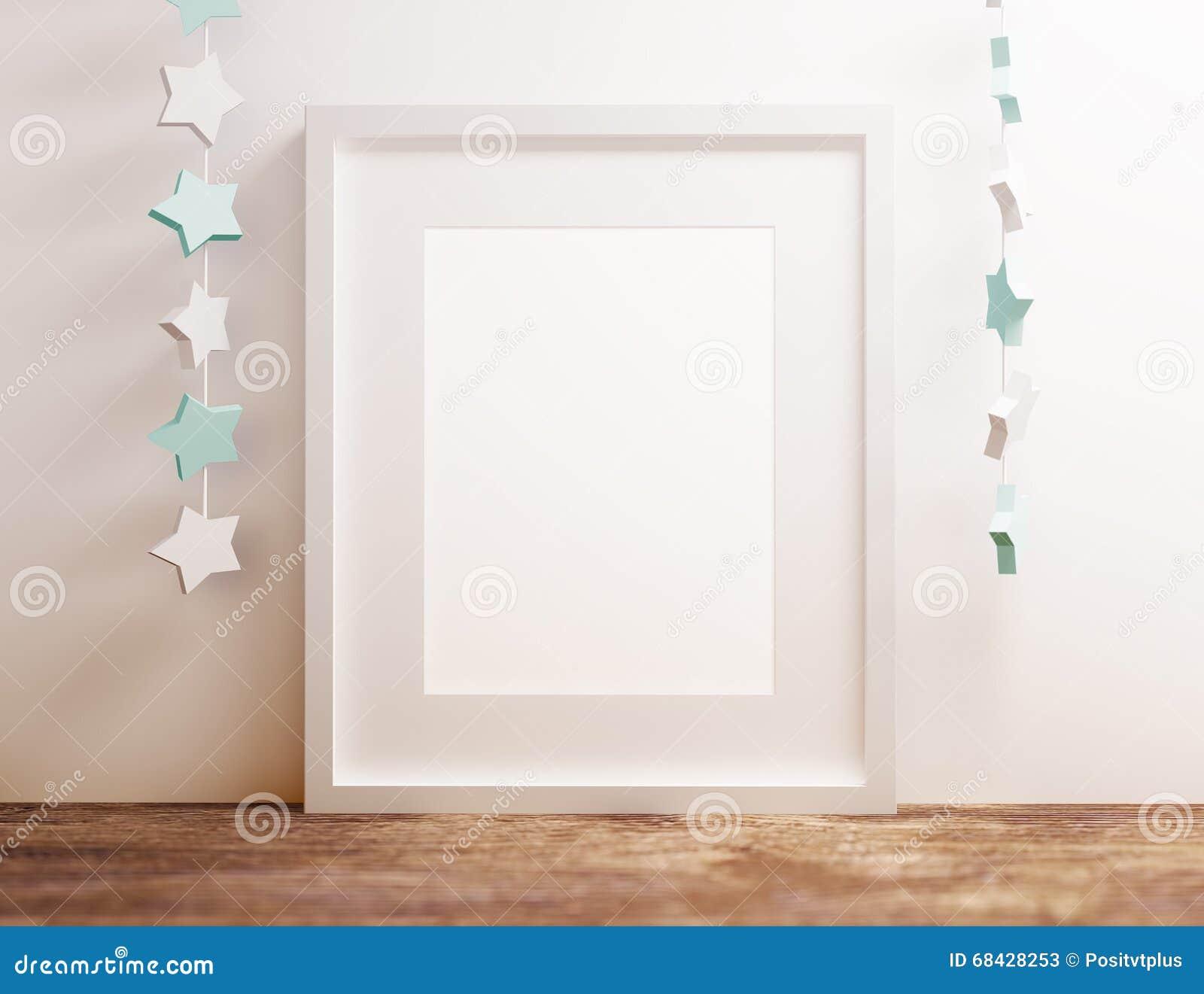 blank white poster frame at wooden shelf with star nursery theme - White Poster Frame
