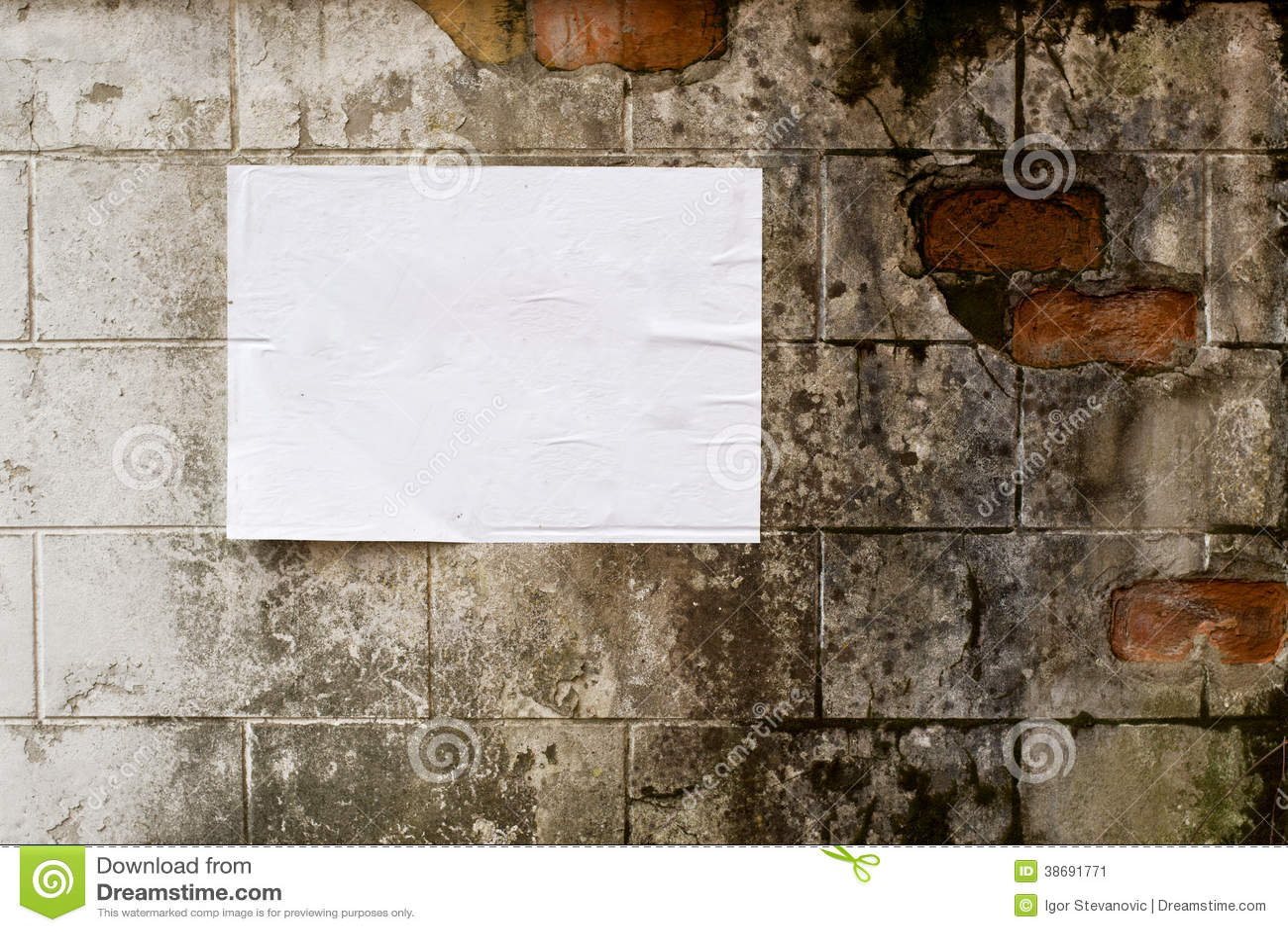 Blank White Poster On Grunge Wall Stock Image Image