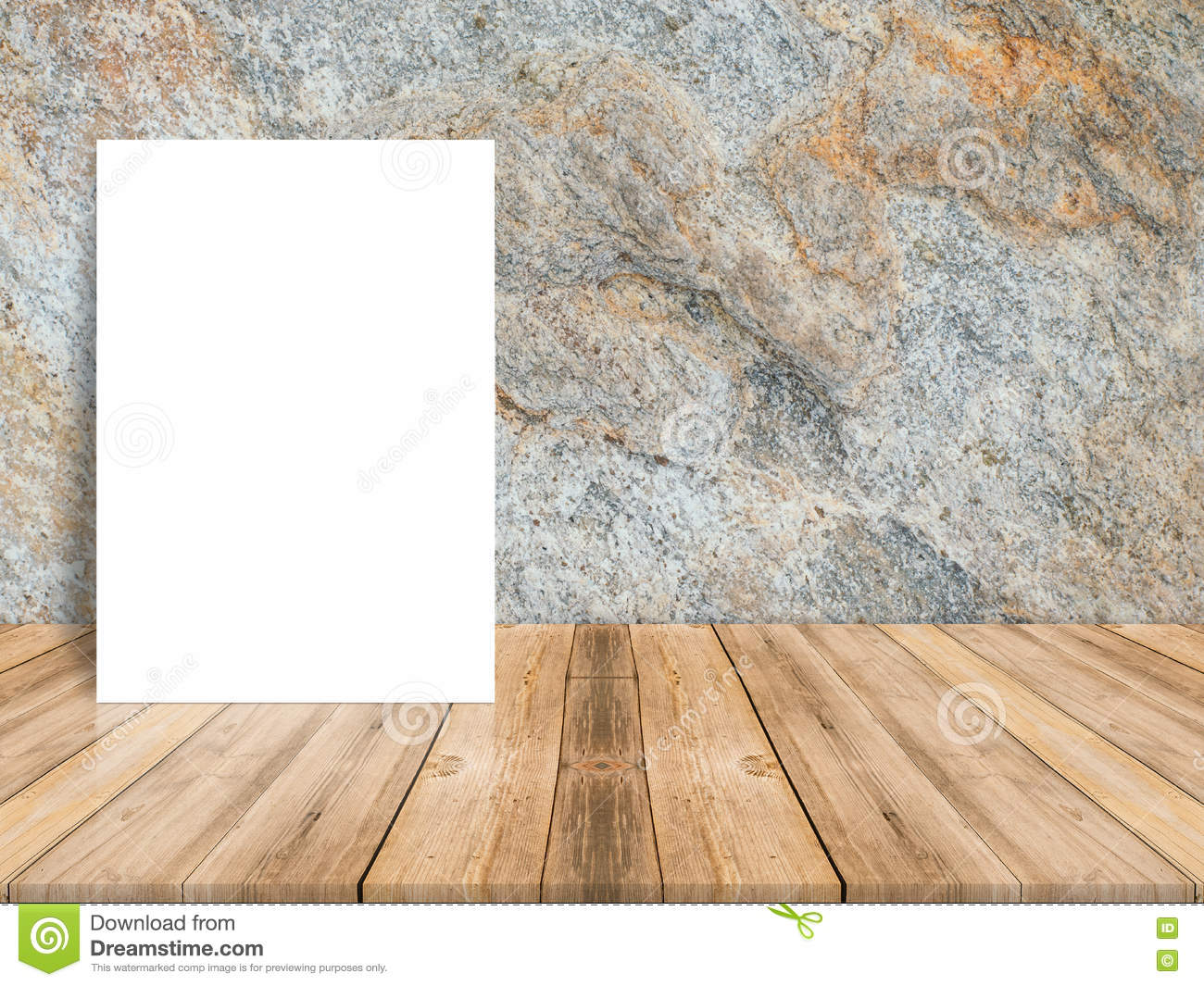 Blank white poster leaning at tropical wood table top with dark