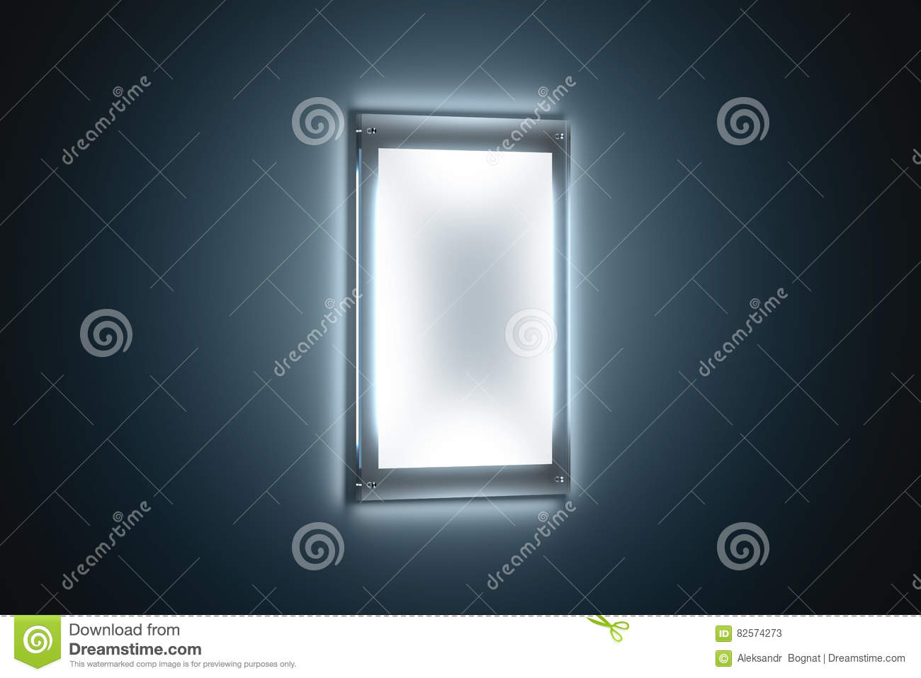 Download Blank White A3 Poster Mockup In Illuminated Glass Holder Stock Image