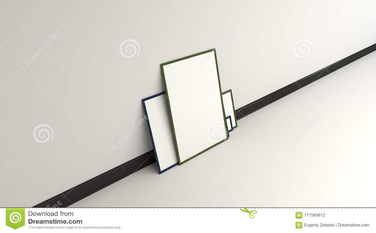 Blank White Posters In Black Frames Standing On The Floor Stock ...