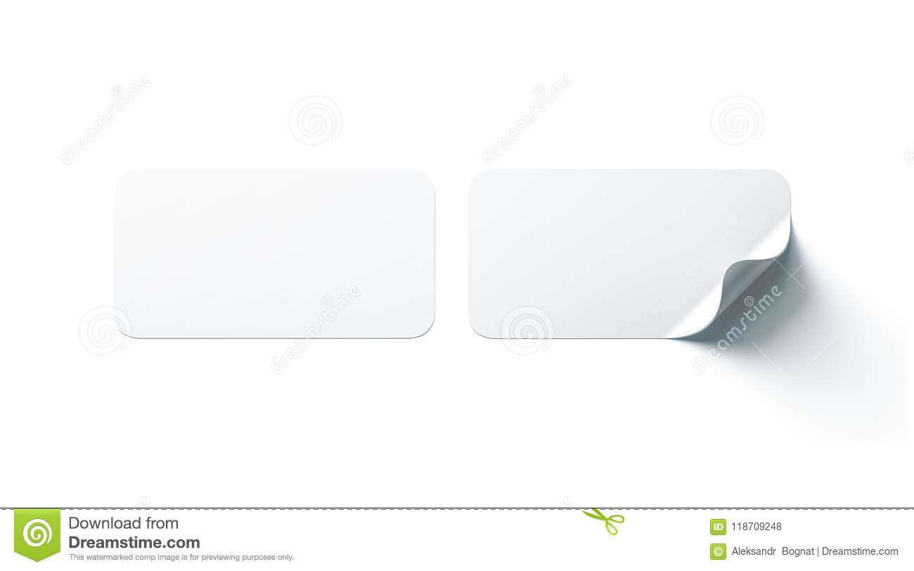 Blank White Rectangle Adhesive Stickers Mock Up With Curved Corner