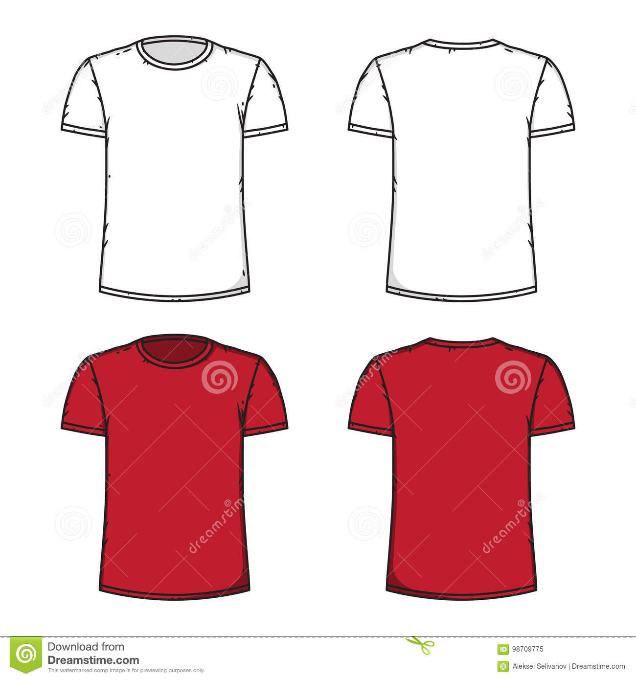 Blank White And Red T Shirt Template Front And Back Stock Vector