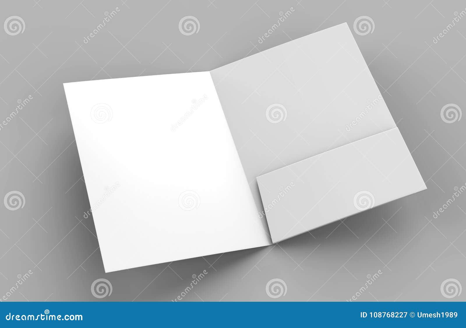 Blank white reinforced one pocket folders on grey background for mock up. 3D rendering.