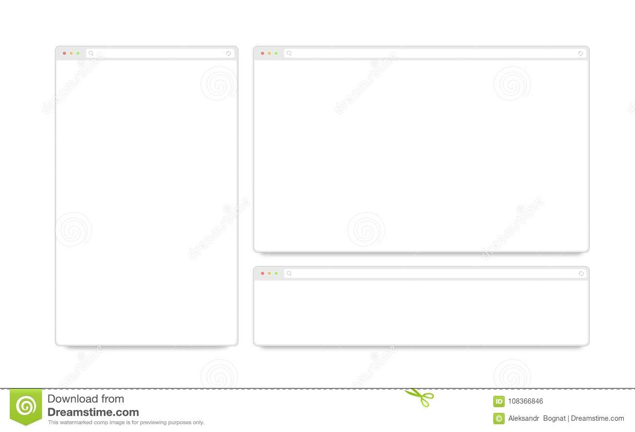 Blank White Responsive Browser Window Mockups Isolated Stock