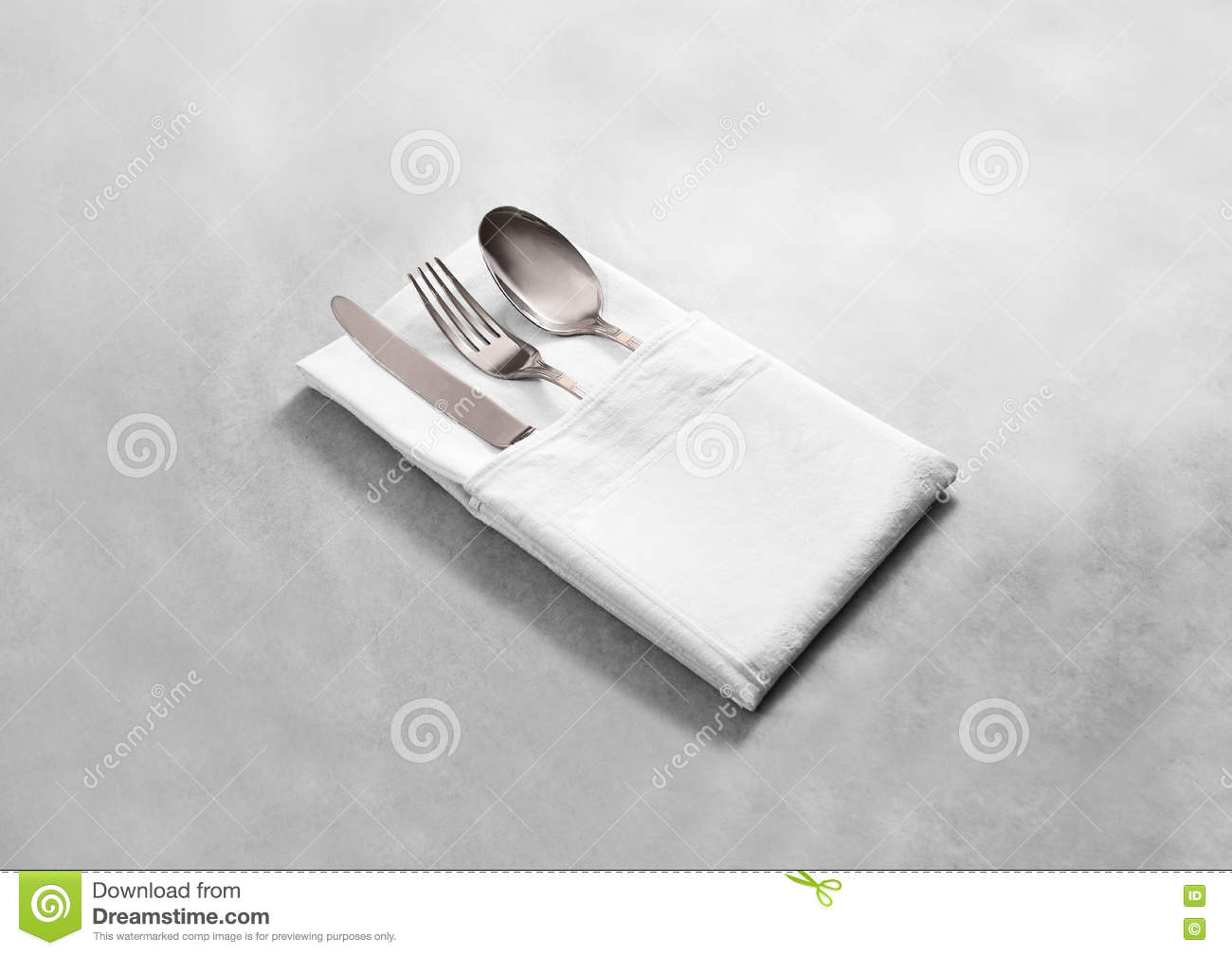 Blank white restaurant cloth napkin mock up with silver