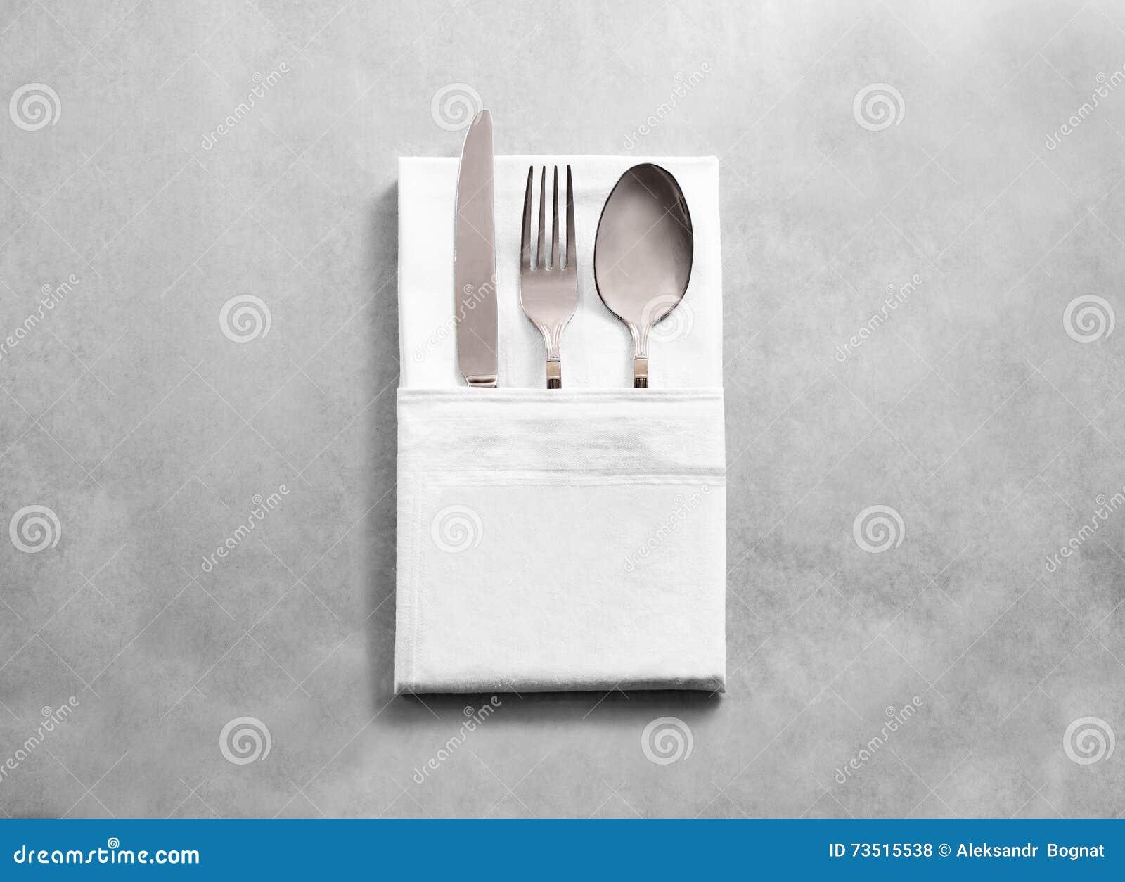 Blank White Restaurant Cloth Napkin Mockup With Silver