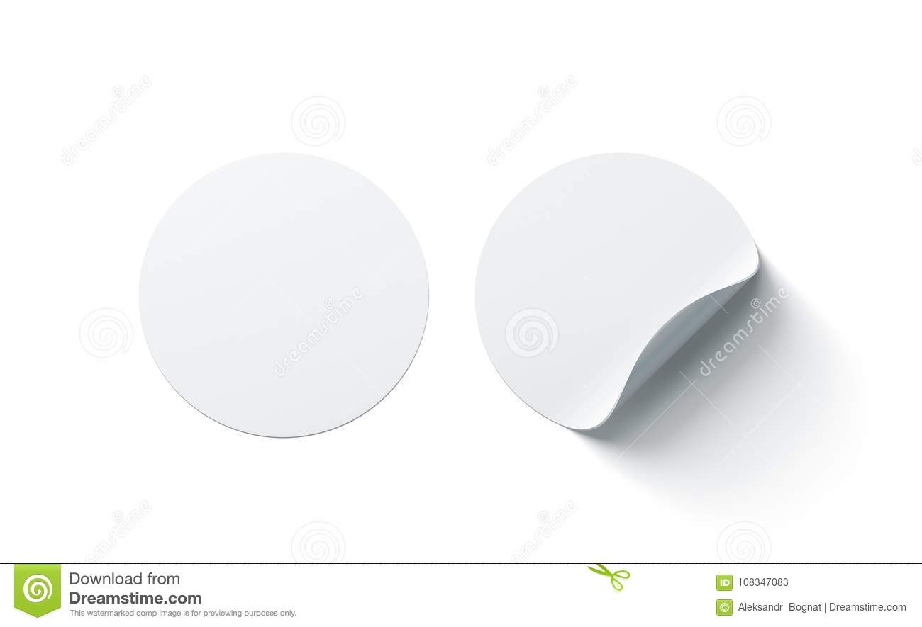 Download Blank White Round Adhesive Stickers Mock Up With Curved Corner Stock Illustration - Illustration of label, adherent: 108347083