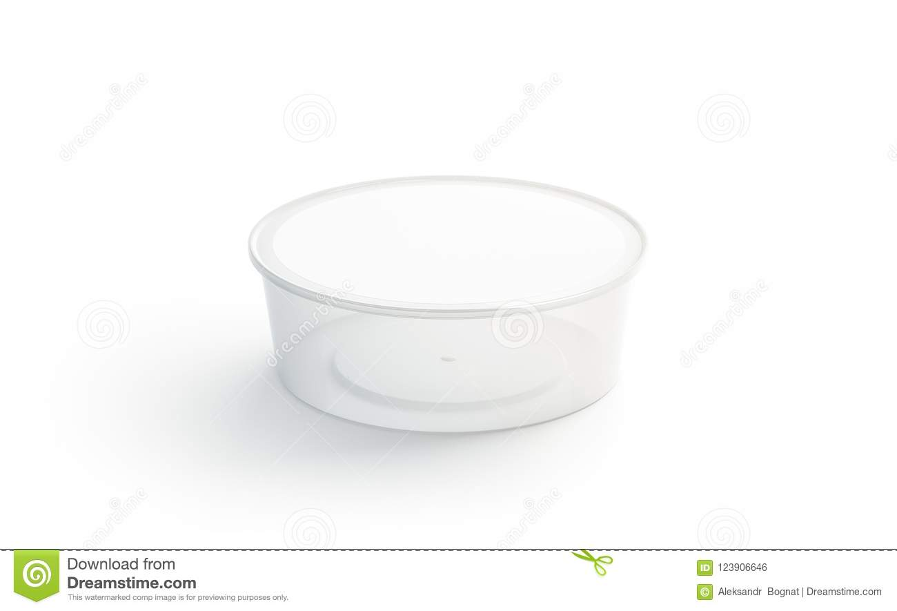 Blank White Round Disposable Container Mockup Isolated 3d Rendering Empty Bento Box Mock Up Clear Lunch Template Fast Food Take Away Tray