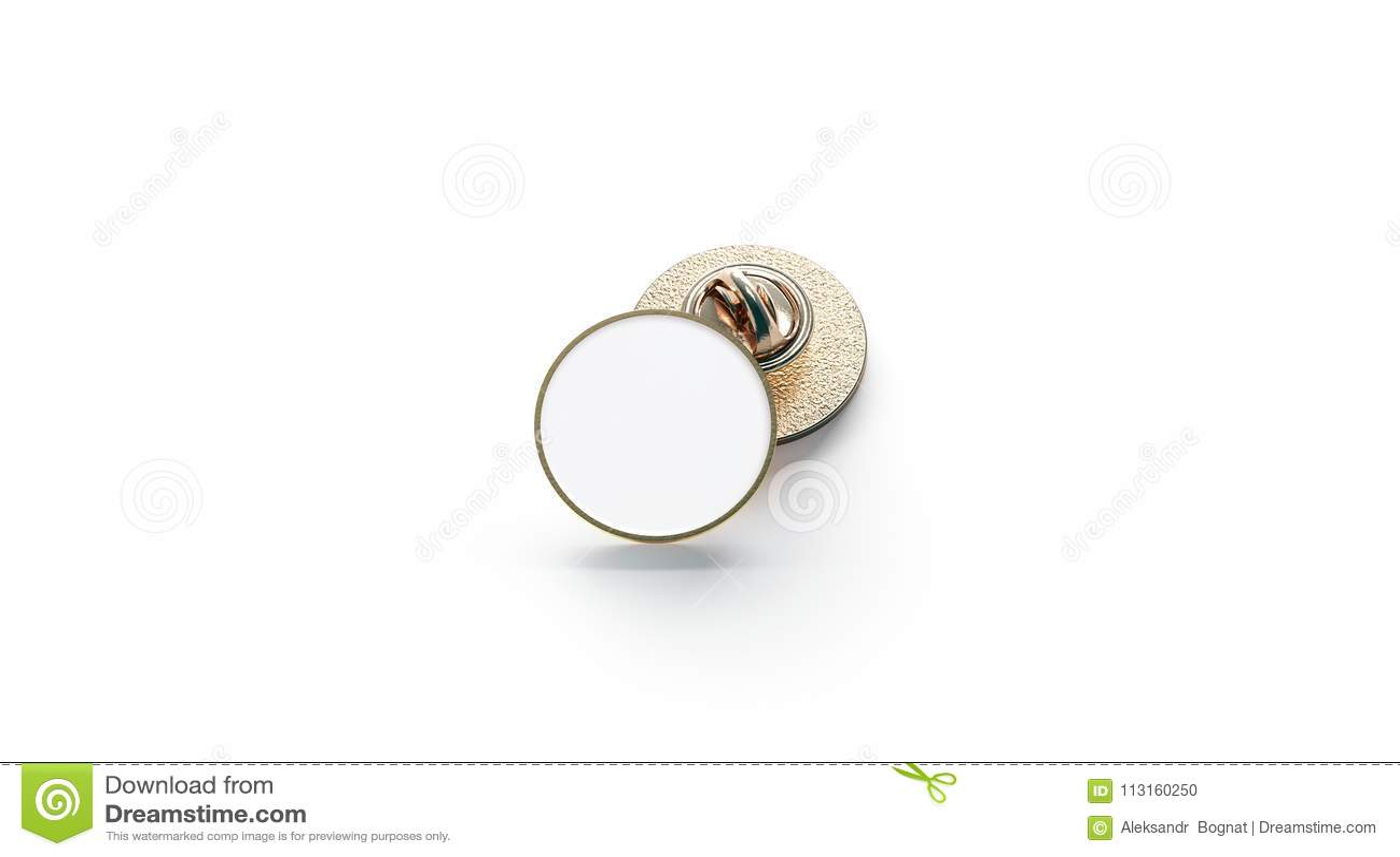 Blank White Round Gold Lapel Badge Mockup Stock Photo