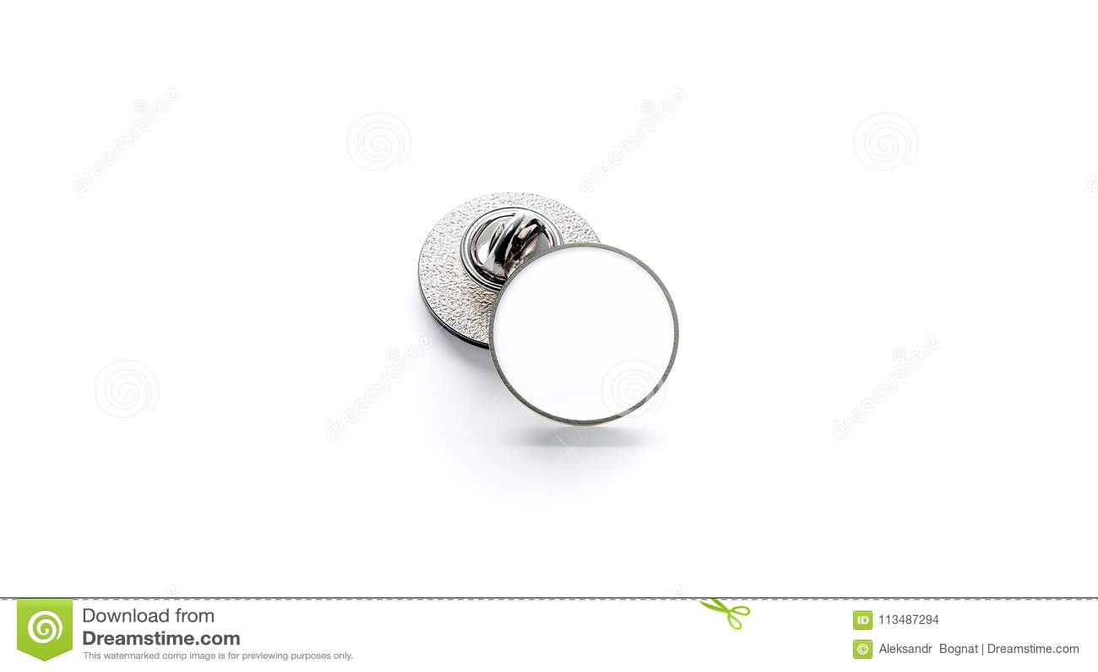 Blank White Round Silver Lapel Badge Mockup Stack, Stock Photo