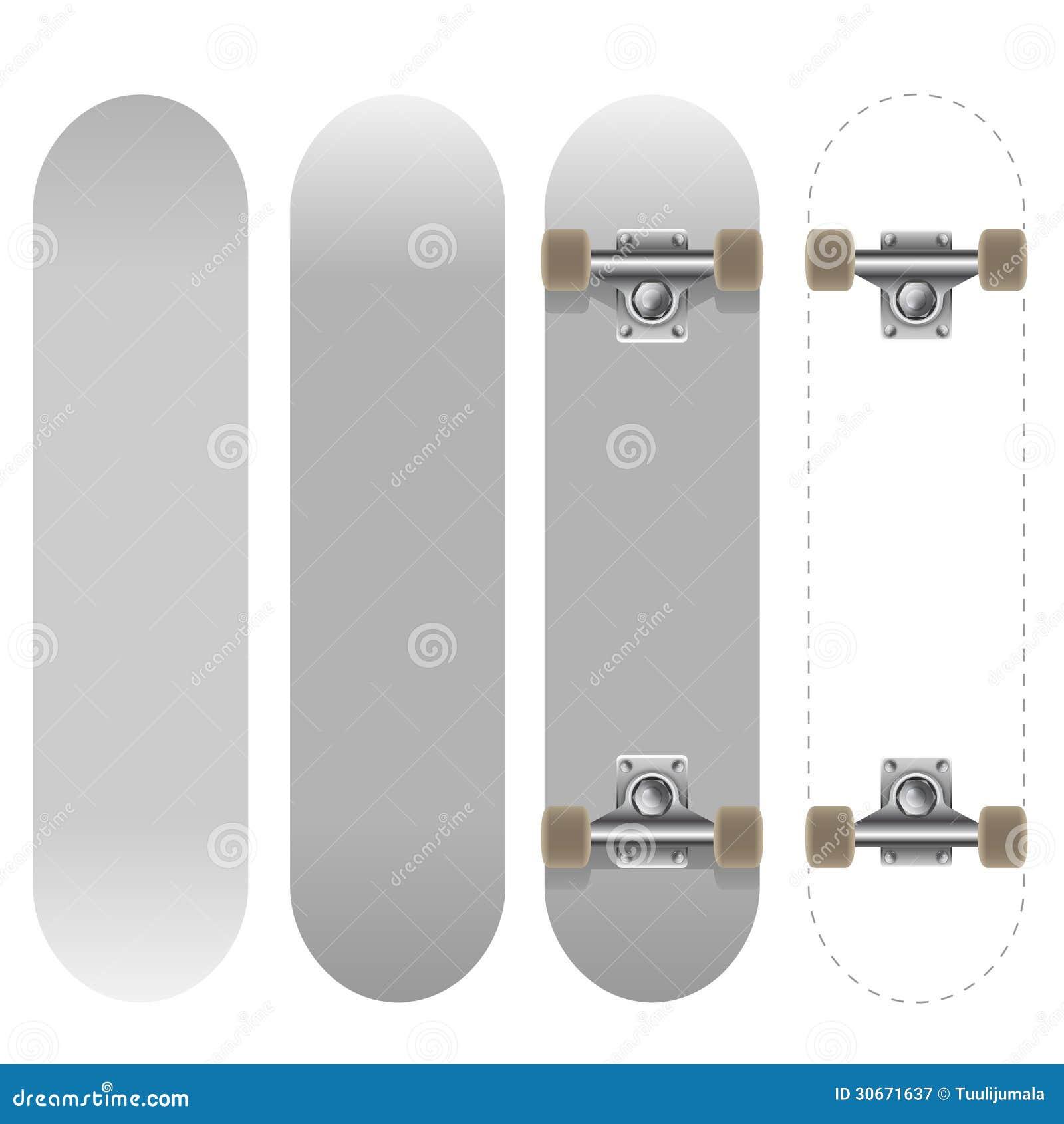 blank white skateboard template royalty free stock