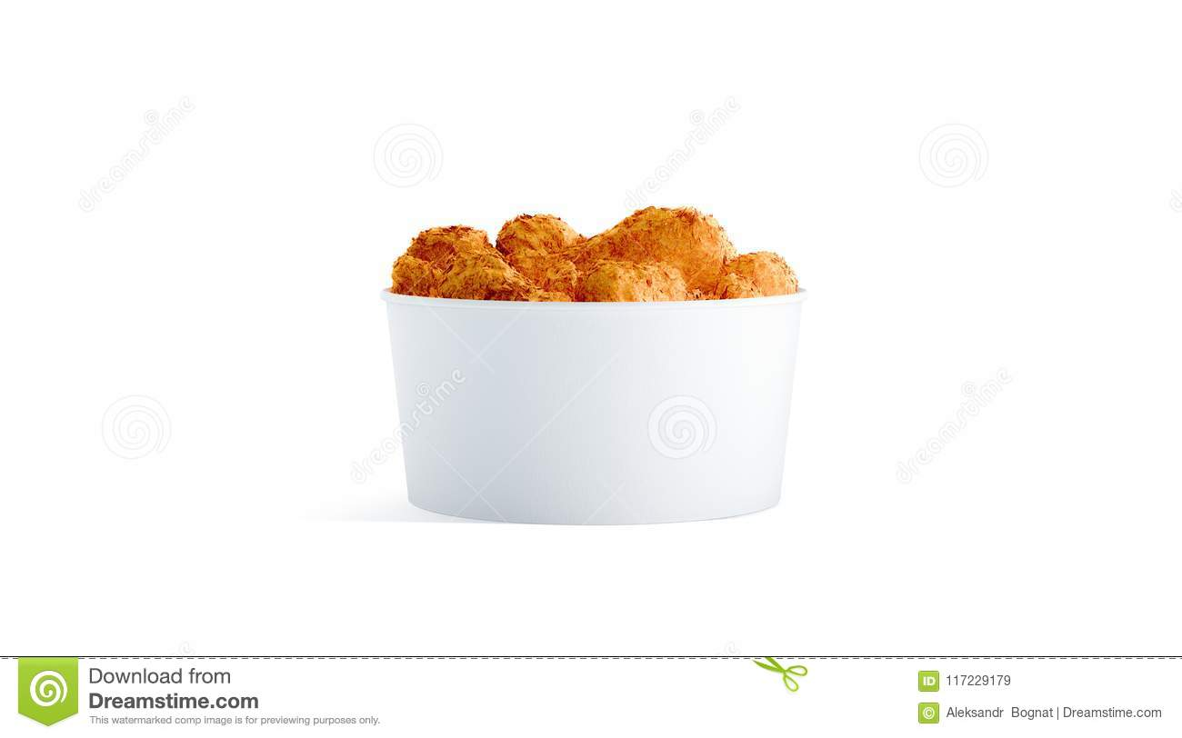 Blank white small food bucket with chicken wings mockup isolated