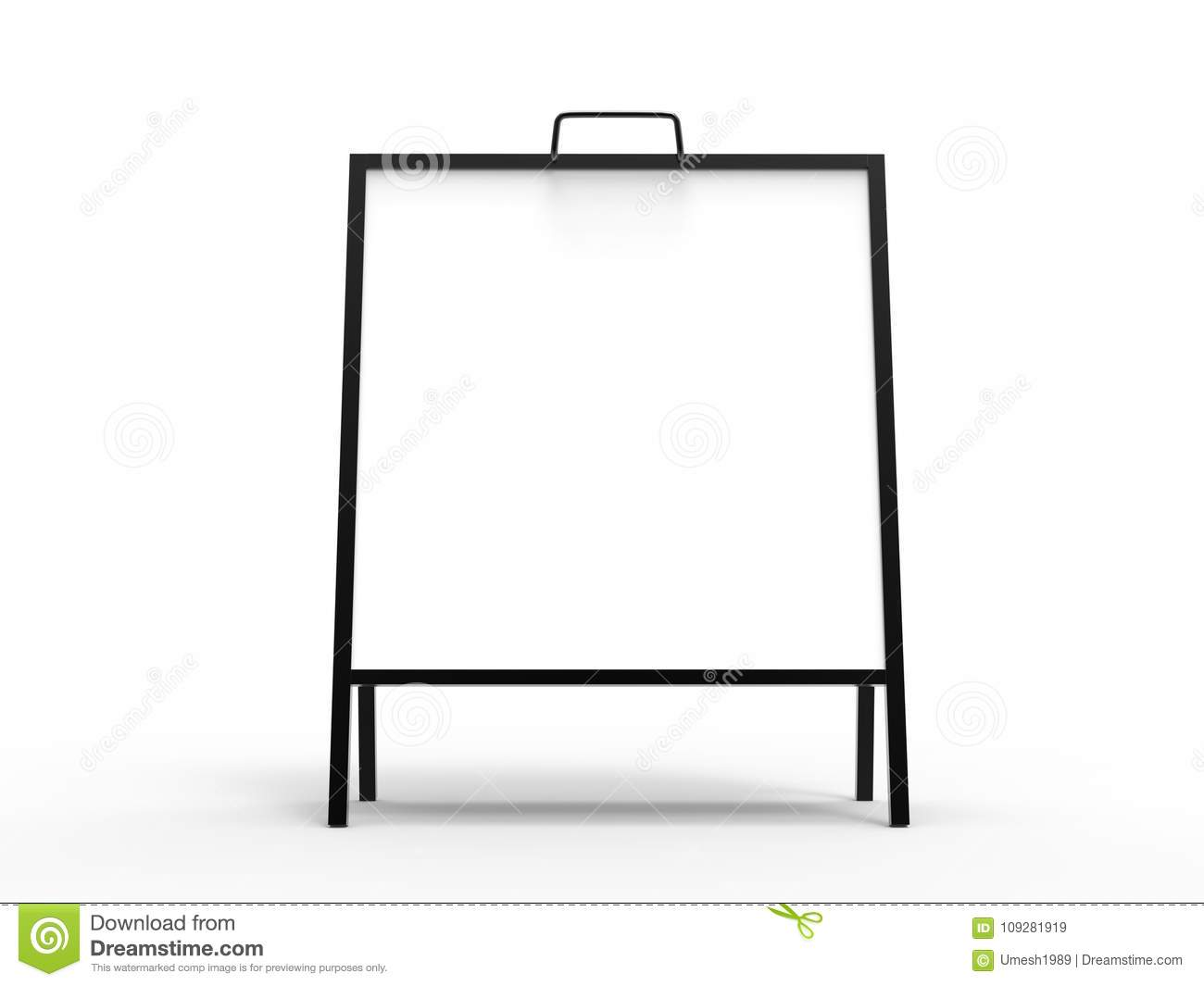 Blank white square A frame metallic outdoor advertising stand mockup set, isolated, 3d rendering. Clear street signage board mock