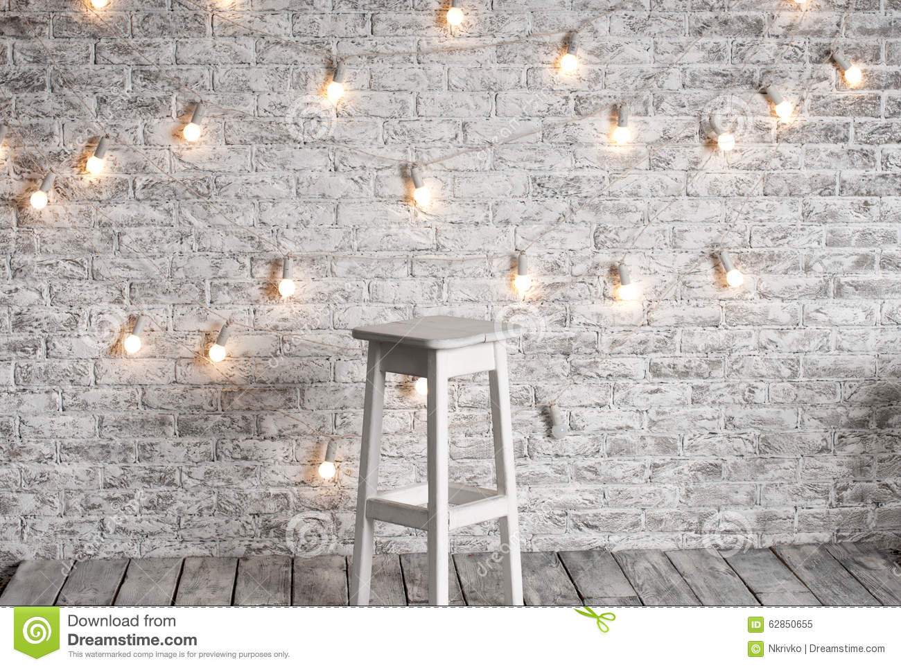White Brick Wall Lights : Blank White Stool Against The Backdrop Stock Photo - Image: 62850655