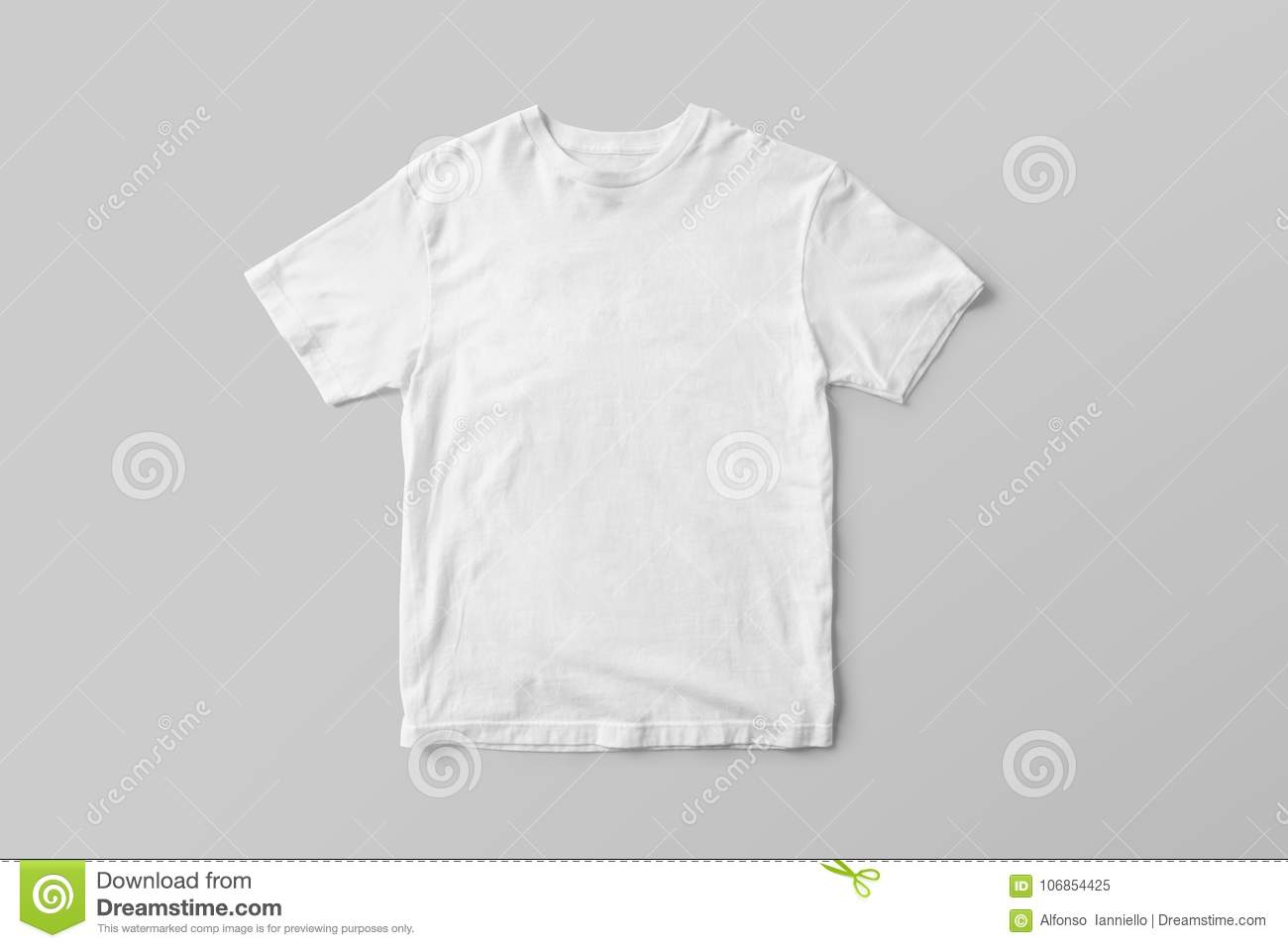 Blank White T-Shirt Mock-up on grey background, front side view.