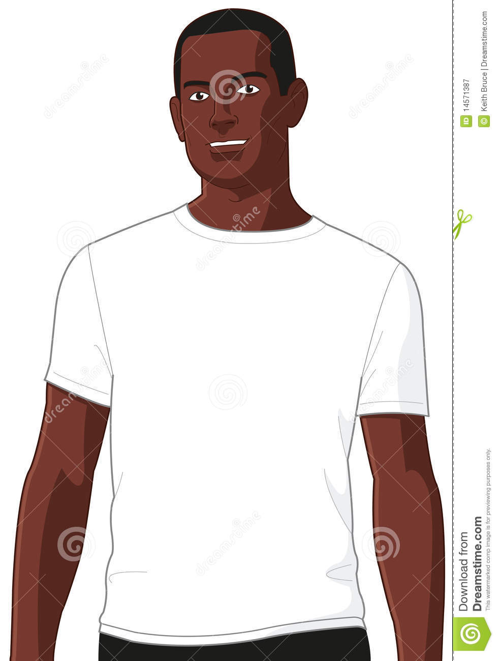 Blank white t shirt model man 2 stock illustration image for American apparel meet the models template