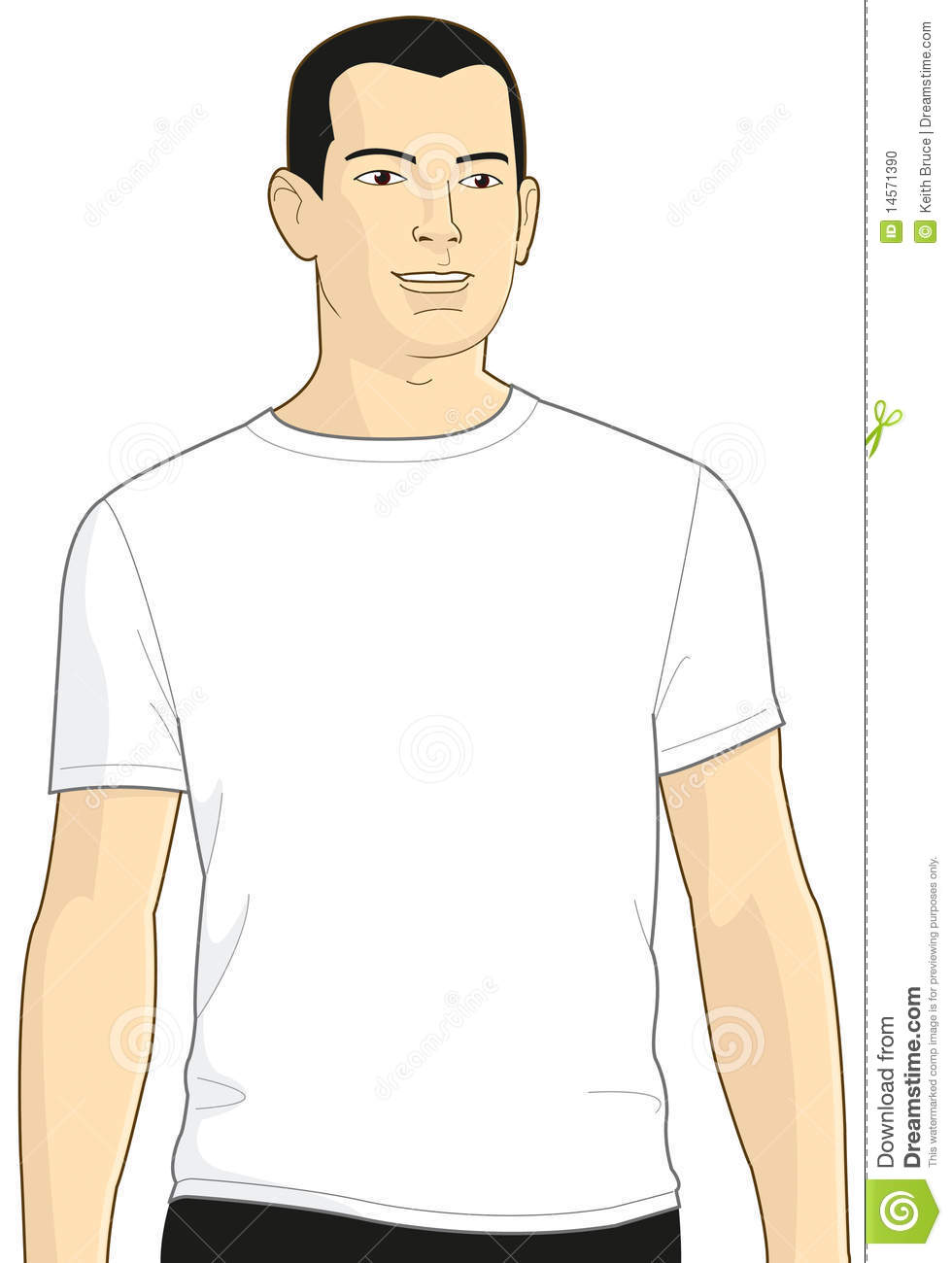 Blank white t shirt model man 3 stock illustration image for T shirt template with model