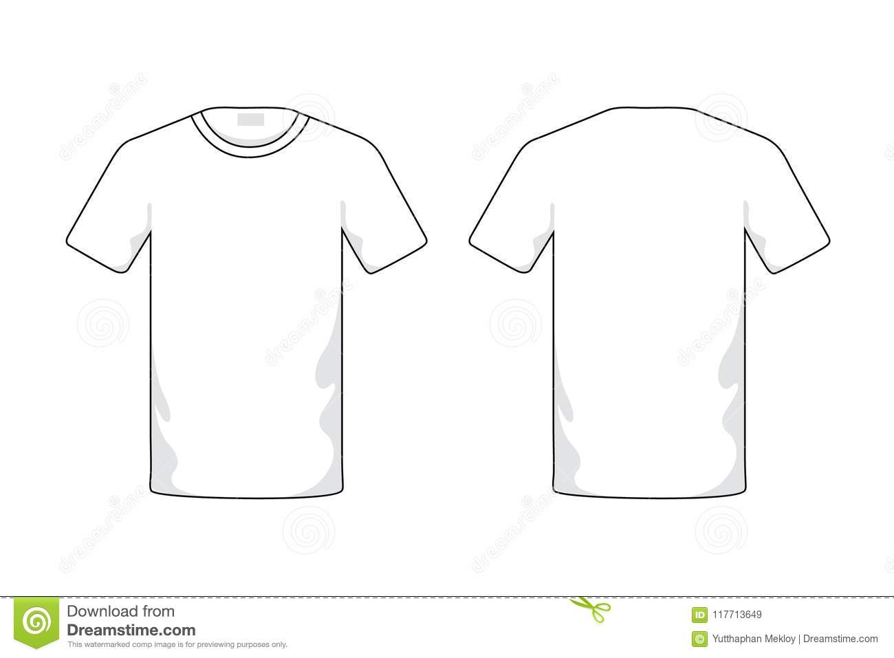 Blank White T Shirt Template Stock Illustration Illustration Of