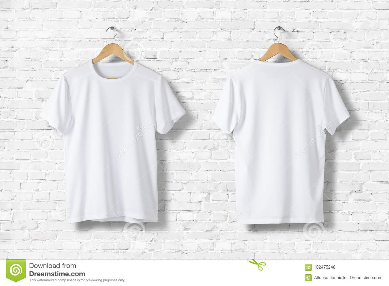 Blank White T-Shirts Mock-up hanging on white wall, rear and front side view.