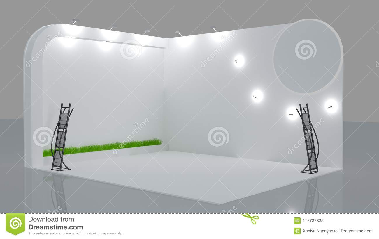 Exhibition Stand White : Blank white trade exhibition booth system stand stock illustration