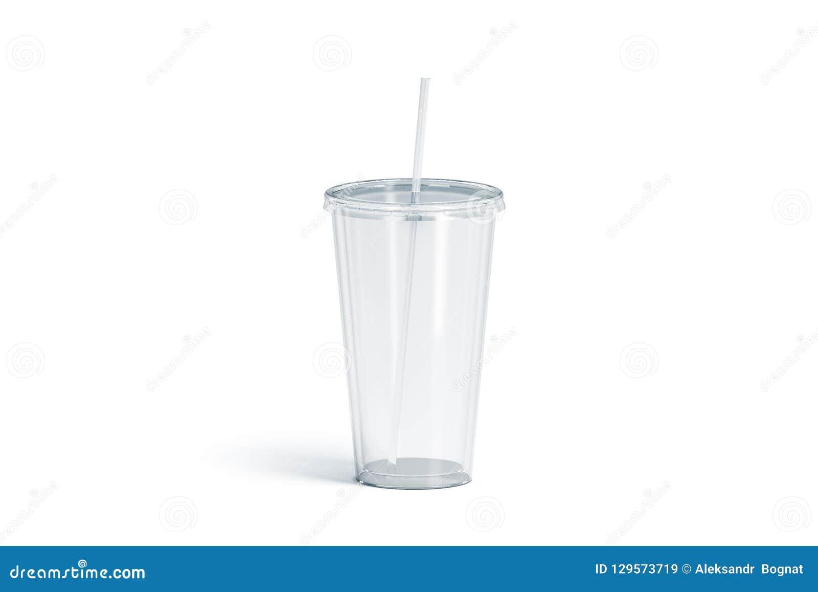 Blank White Transparent Acrylic Tumbler With Straw Mockup