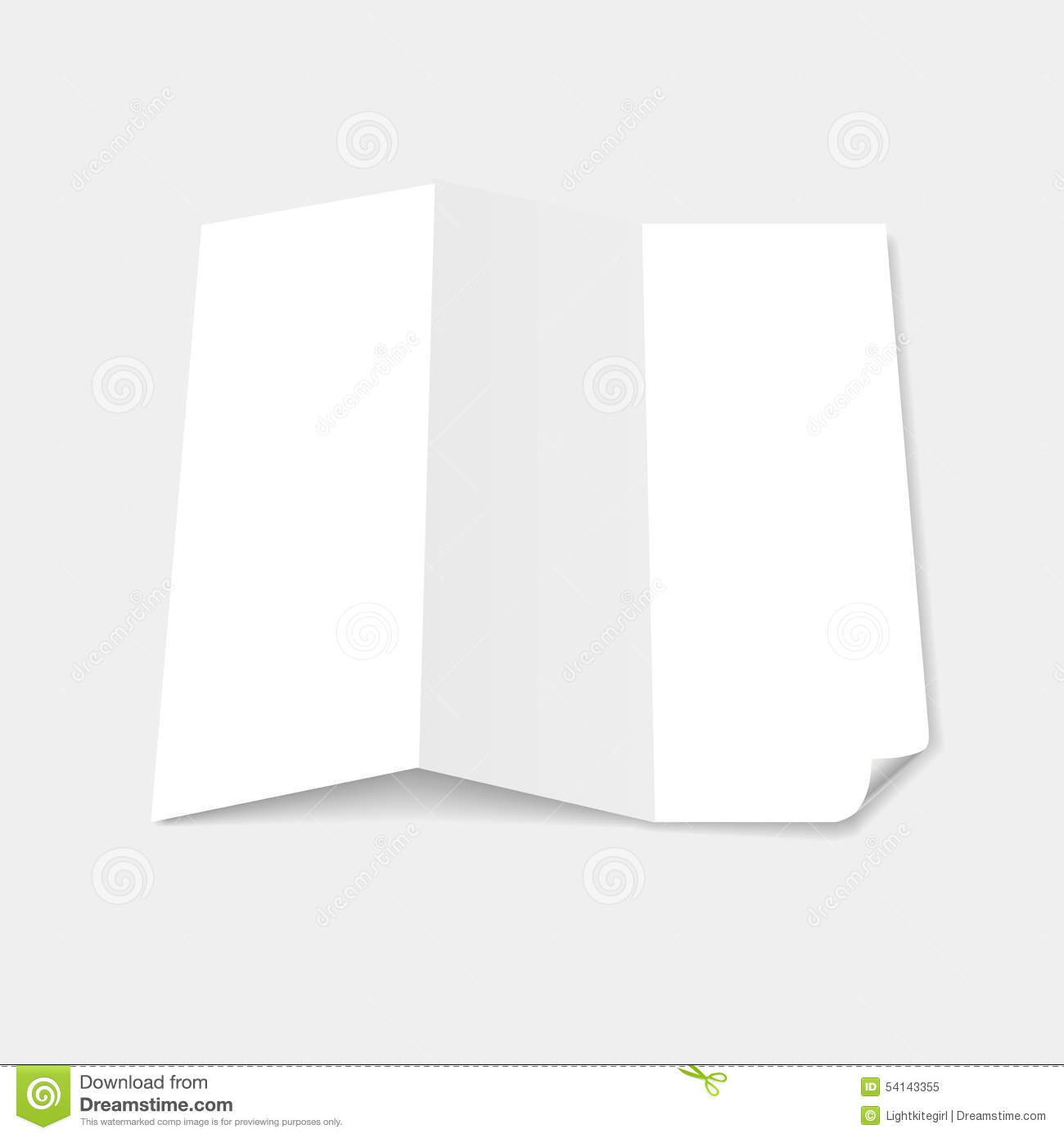 Blank white tri fold brochure template with page stock for Tri fold brochure template pages