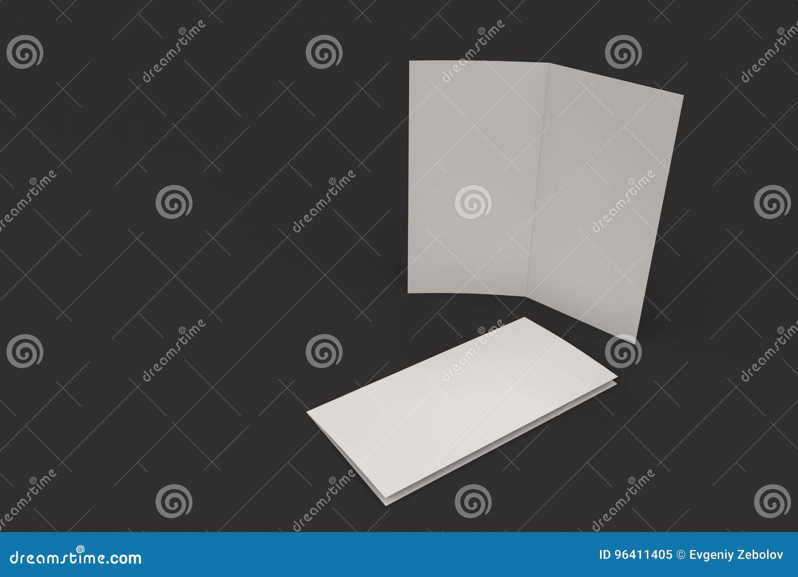 blank white two fold brochure mockup on black background stock