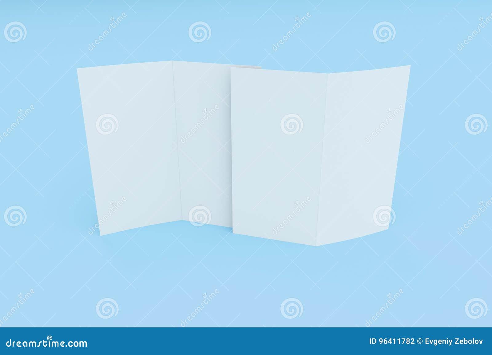 Blank White Two Fold Brochure Mockup On Blue Background Stock