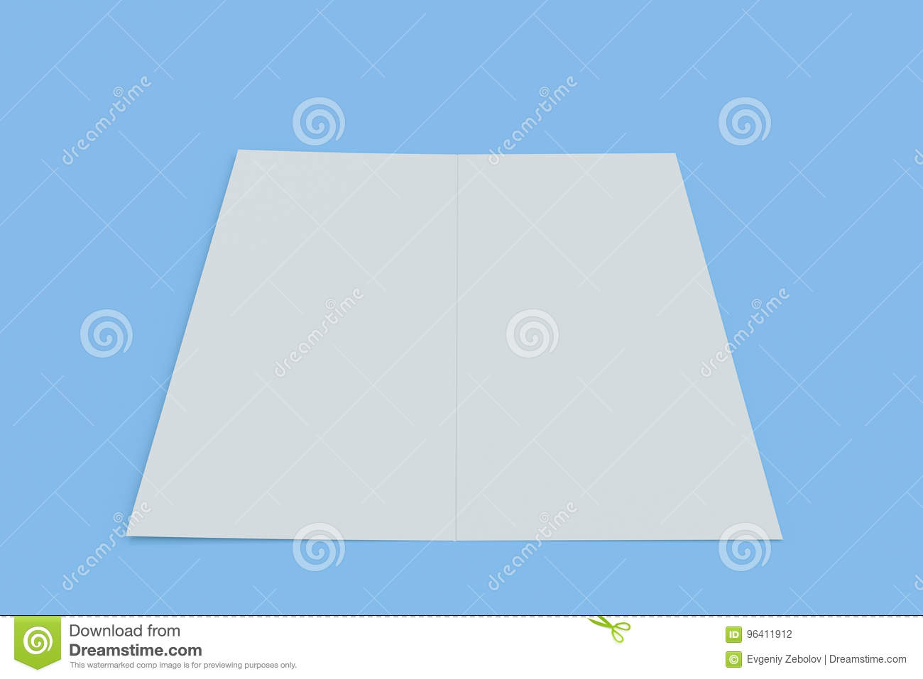 blank white two fold brochure mockup on blue background stock
