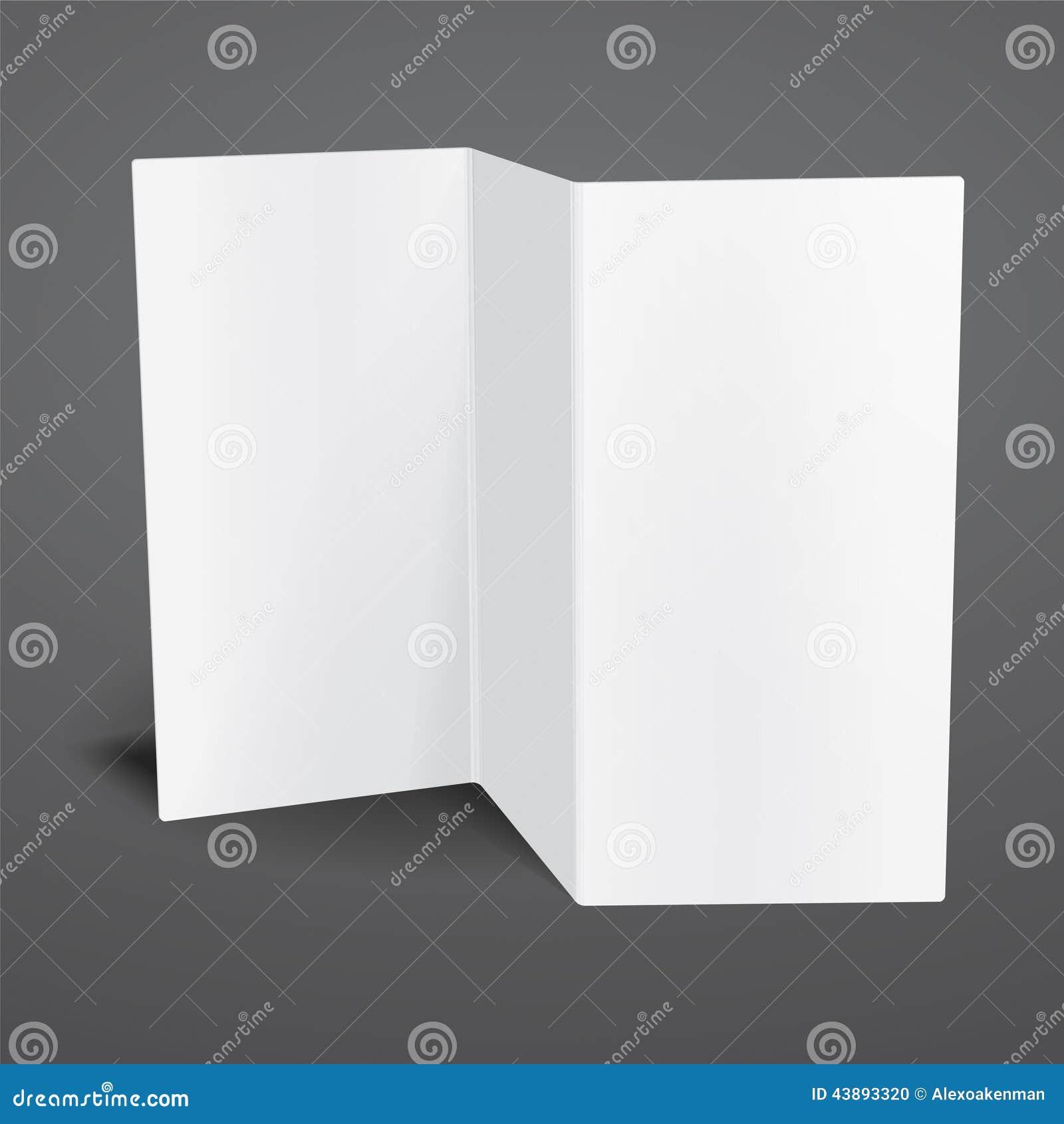 Blank White Vector Tri Fold Brochure Template Stock Vector