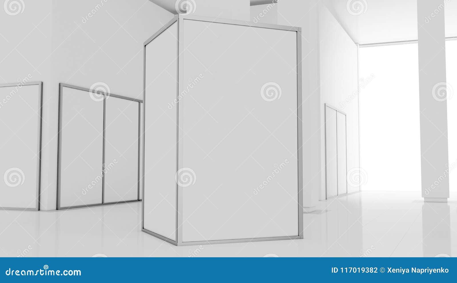 Blank White Wall Mockup In Sunny Modern Empty Museum, 3d Rendering ...