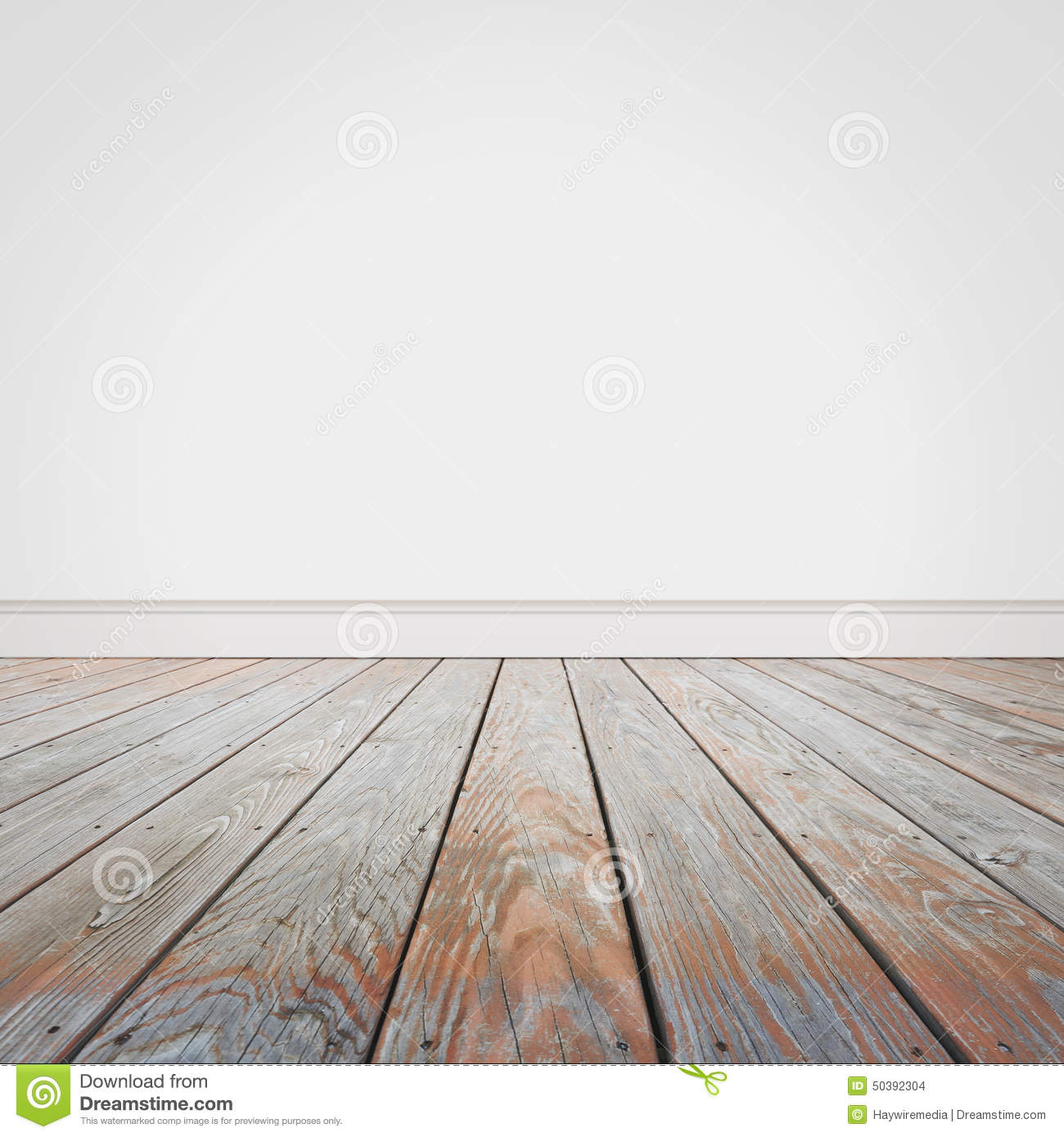 Blank White Wall And Wooden Old Floor Background Stock ...