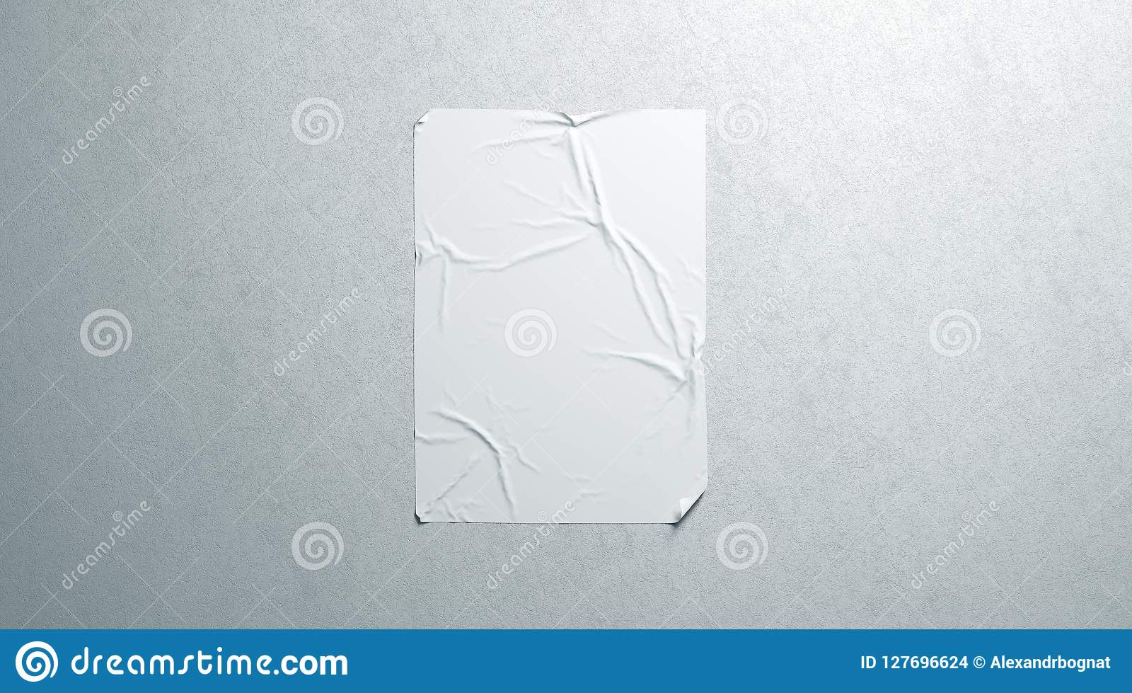 Blank white wheatpaste adhesive poster mockup on textured wall