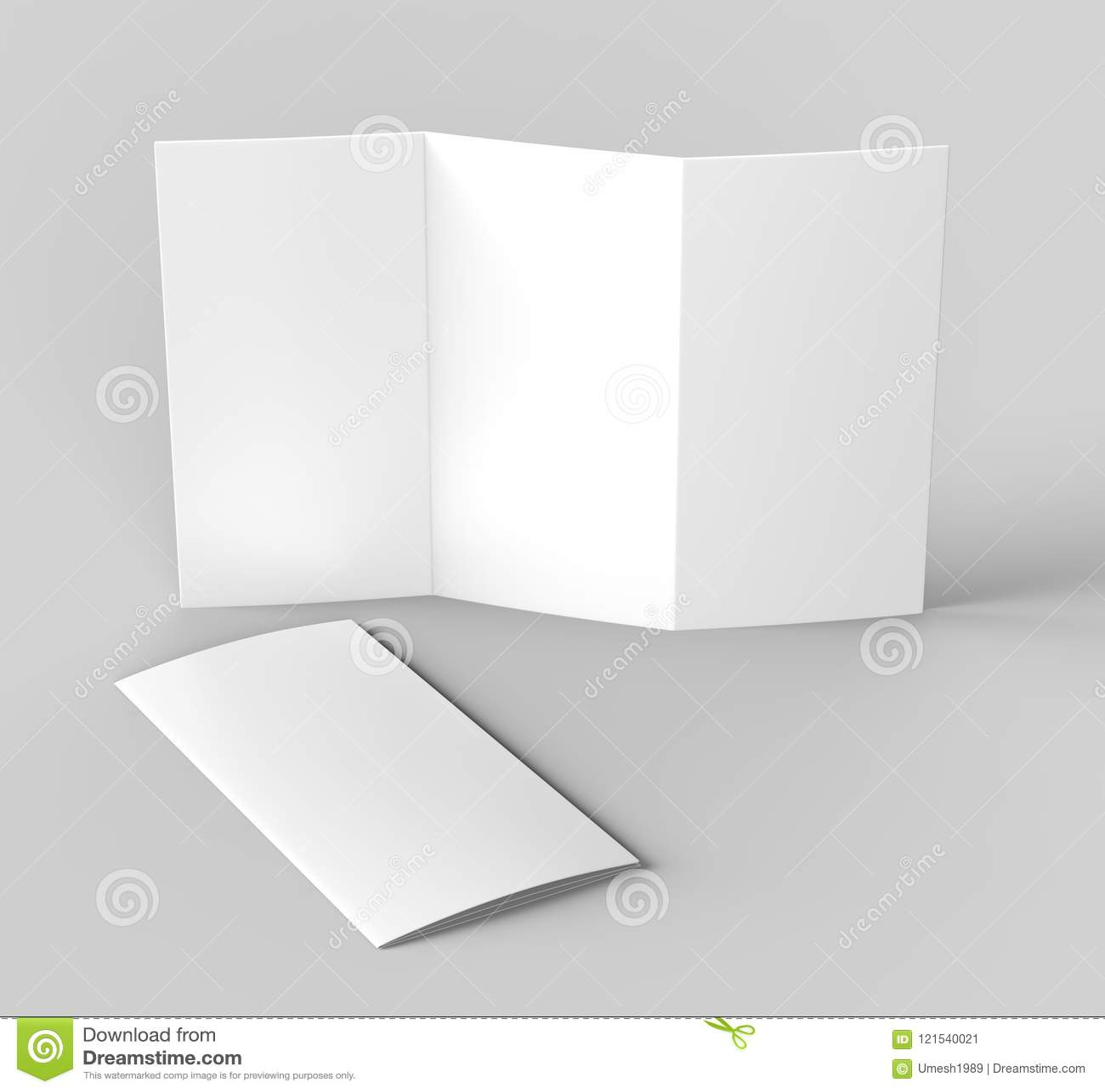 Blank White Z Fold Brochure For Mock Up Template Design  3d