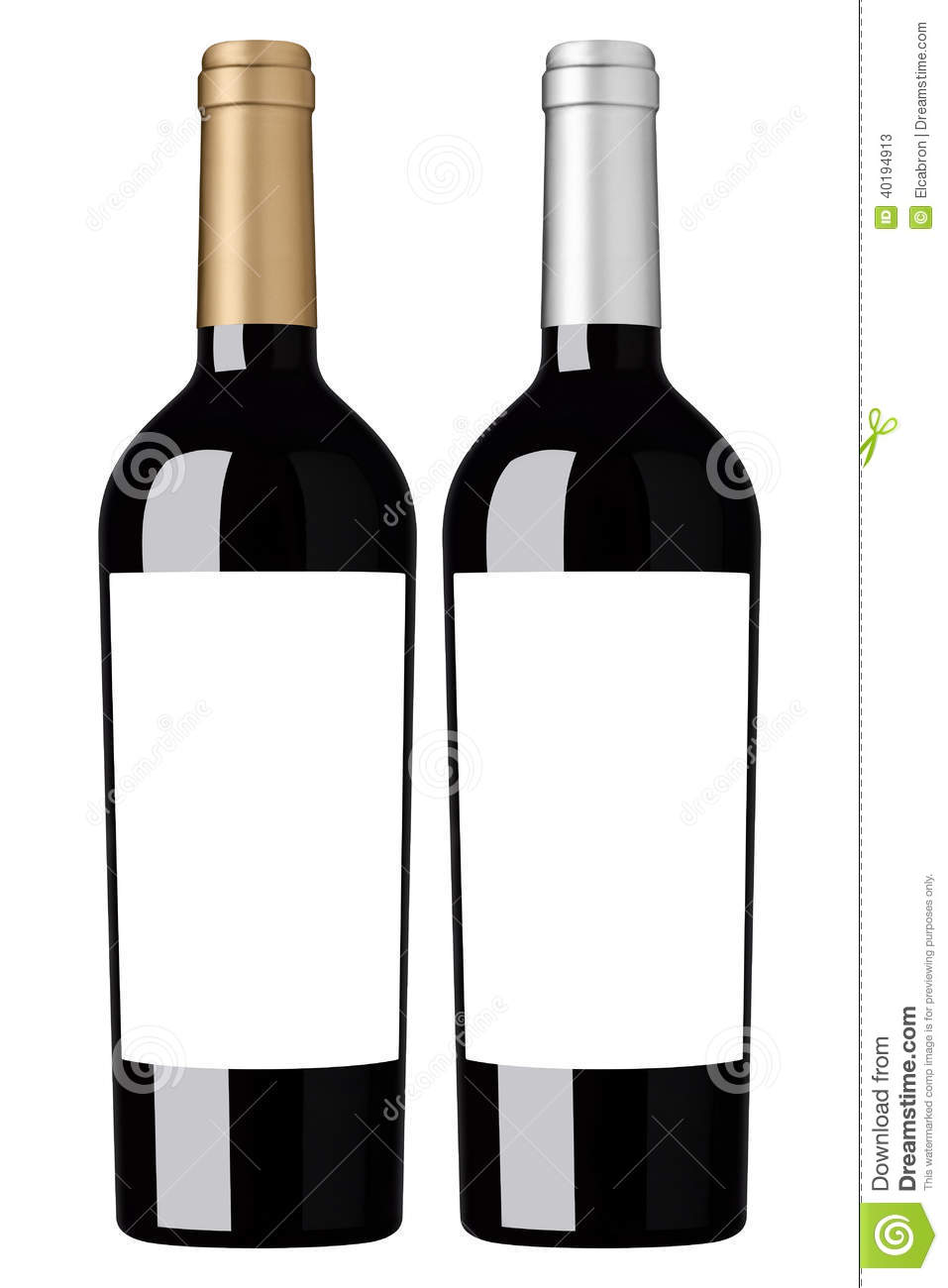 Red wine blank bottle with labels ready for branding.