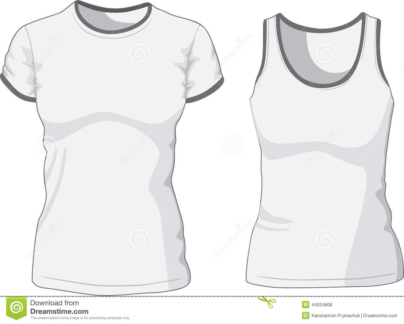 blank women s t shirt and singlet vector stock vector