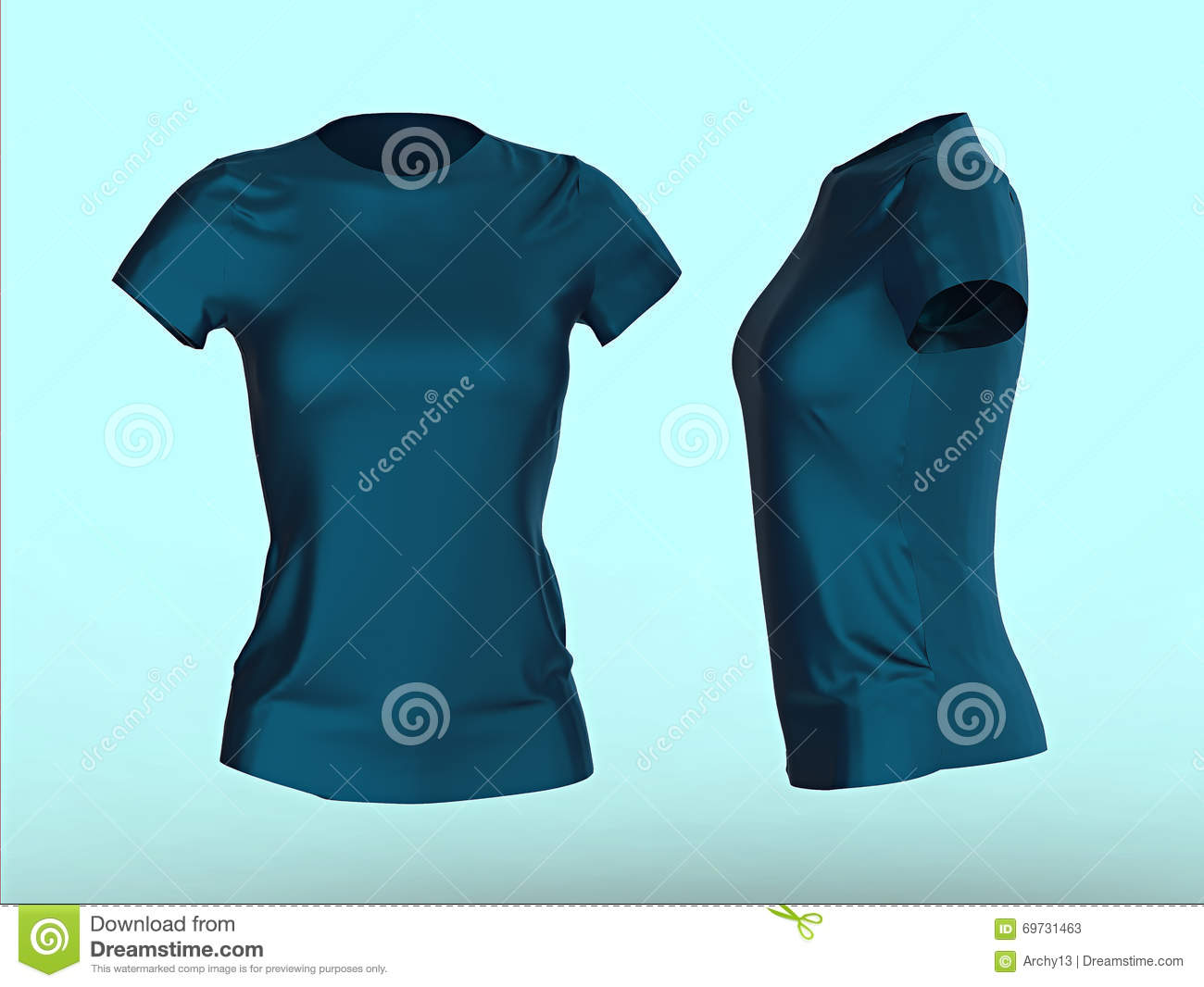 blank women t shirt template isolated 3d render promo