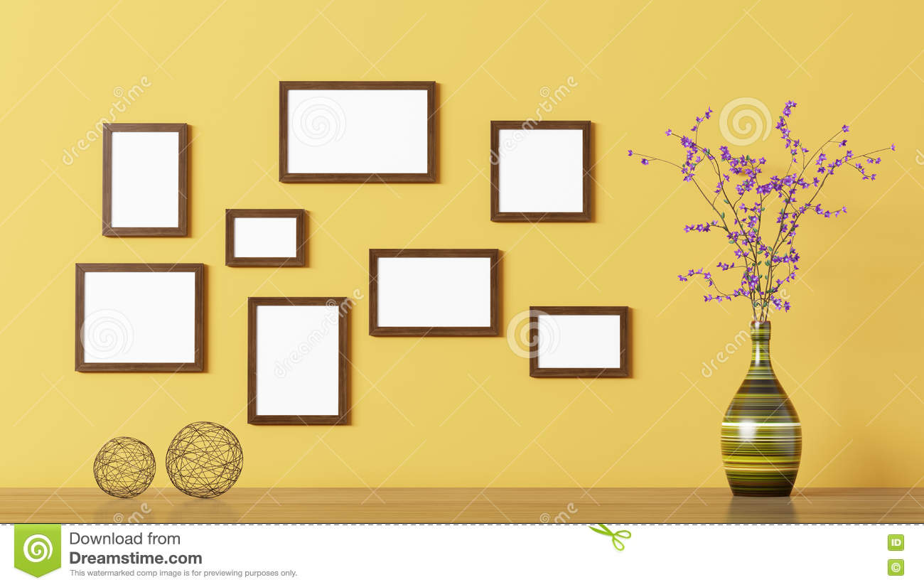 Blank Wooden Frames Over Yellow Wall 3d Rendering Stock Illustration ...