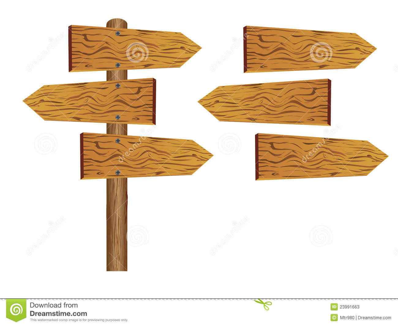 Blank wooden sign board stock illustration