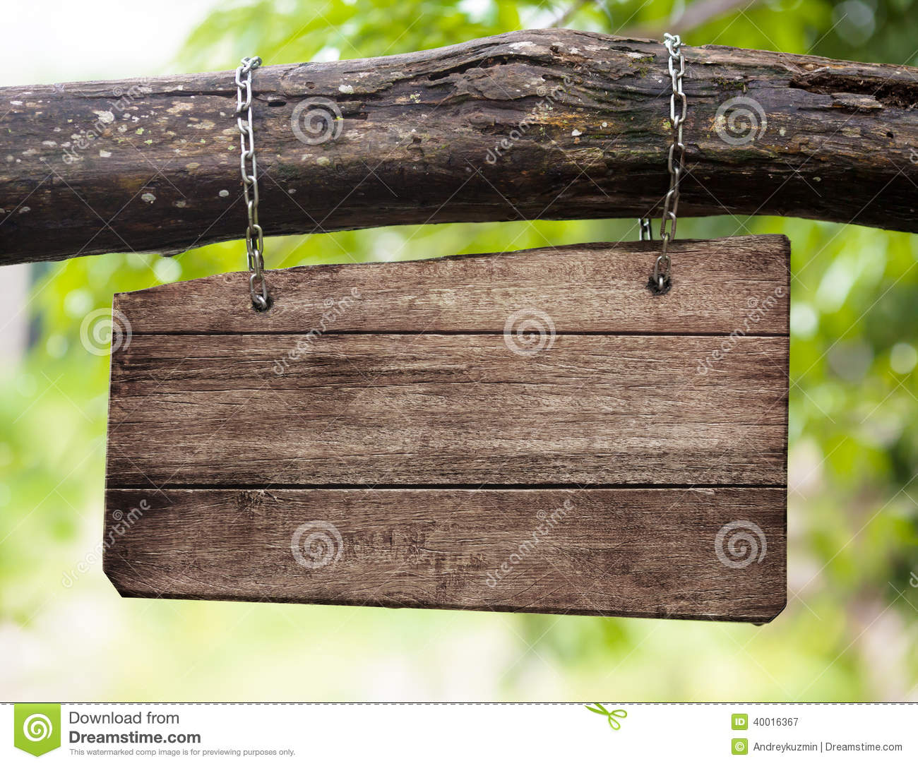 Blank Wooden Sign Board Hanging Outdoor Stock Photo