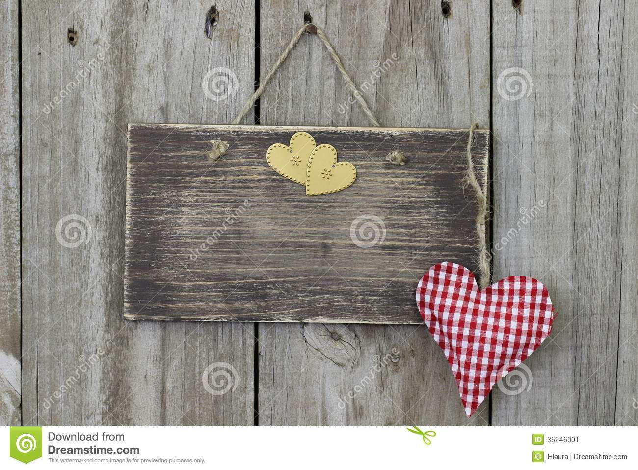 Blank Wooden Sign Hanging On Wood Door With Gingham And