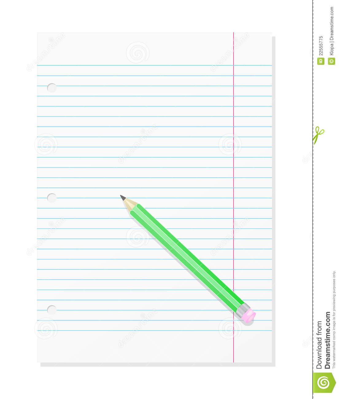 Page: Blank Workbook Page With Pencil Royalty Free Stock Photo